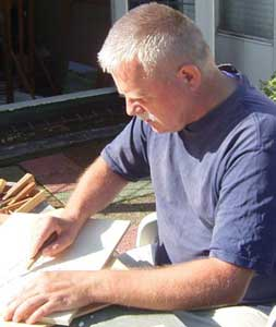Photo of me carving the woodblock